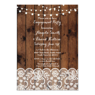 Wedding Wood String Lights Lace Engagement Invite