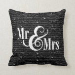 "Wedding Words B&W ""Mr & Mrs"" pillow, personalized"
