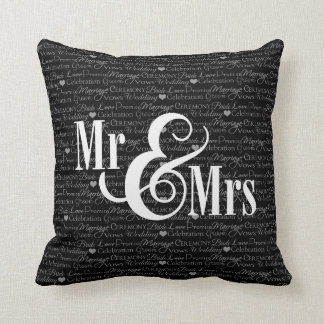 "Wedding Words B&W ""Mr & Mrs"" pillow, personalized"