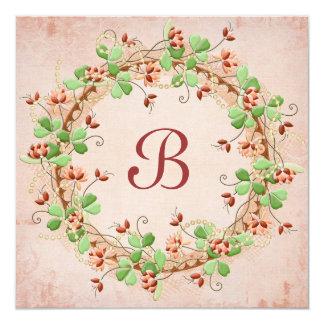 Wedding Wreath Vow Renewal 5.25x5.25 Square Paper Invitation Card