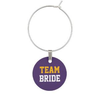 Wedding Yellow Gold Team White Bride on Purple Wine Charm