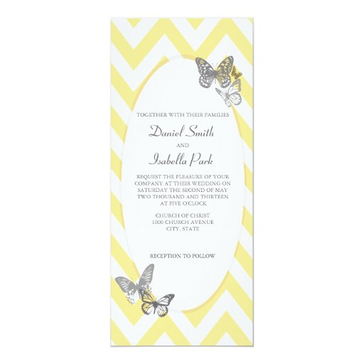 Wedding Yellow Grey Butterfly Chevron Invitation