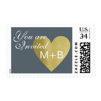 """wedding """"you are invited"""" , initials + heart postage"""