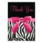 Wedding Zebra Stripes & Pink Printed Bow Thank You Card