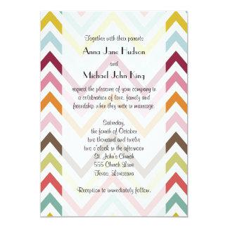 Wedding - Zigzag (Chevron) - Green Blue Pink Card