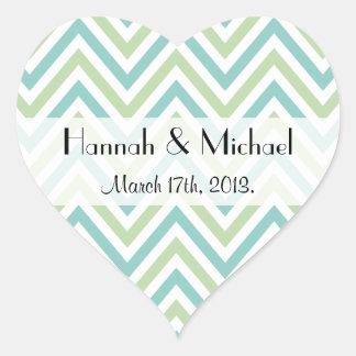 Wedding - Zigzag (Chevron), Stripes - Green Blue Heart Sticker