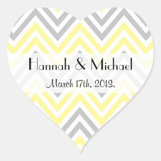Wedding - Zigzag (Chevron), Stripes - Yellow Gray Heart Sticker