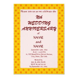 WeddingAnniversary-Naranja PolkaDots, Invitación 11,4 X 15,8 Cm