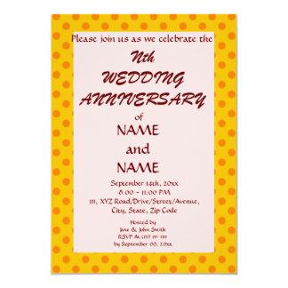 WeddingAnniversary-Naranja PolkaDots, Invitación 12,7 X 17,8 Cm
