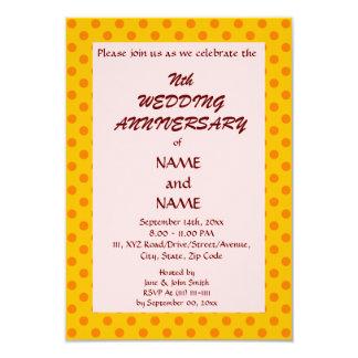 WeddingAnniversary-Naranja PolkaDots, Invitación 8,9 X 12,7 Cm