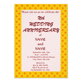 "WeddingAnniversary-Naranja PolkaDots, Invitación 4.5"" X 6.25"""