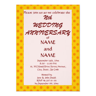 "WeddingAnniversary-Naranja PolkaDots, Invitación 5.5"" X 7.5"""