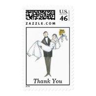 WeddingCartoon Thank You Postage Stamps