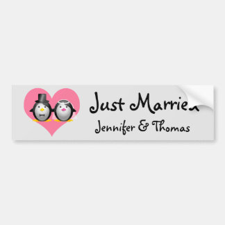 WeddingPenguins, Just Married, Jennifer & Thomas Bumper Sticker