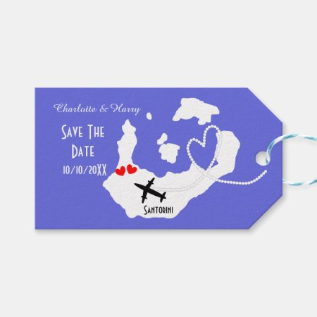 Weddings Abroad Santorini Save The Date Gift Tags