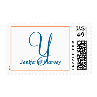 Weddings Alphabet Classic Pink Orange Postage Stamp