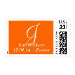 Weddings Beautiful Monograms Safety Orange Stamps