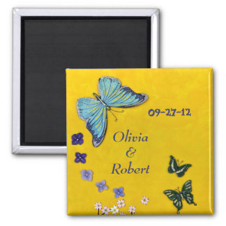 Weddings & Butterflies 2 Inch Square Magnet