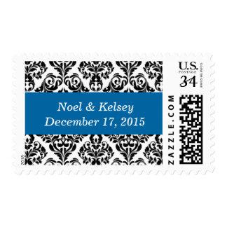 Weddings Classic Damask Design Sapphire Blue Stamp