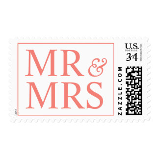 Weddings Classic Mr and Mrs Design Coral Pink Stamps