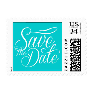 Weddings Cute Save The Date Style Dark Turquoise Postage
