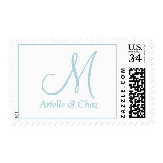 Weddings DIY Monogrammed Light Blue Postage