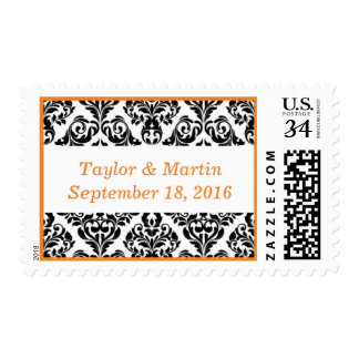 Weddings Event Damask Style Cadmium Orange Postage