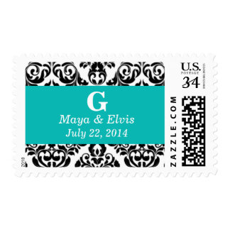 Weddings Pretty Damask Robin Egg Blue Postage