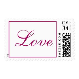Weddings Pretty Love Letters Raspberry RSVP Invite Stamp