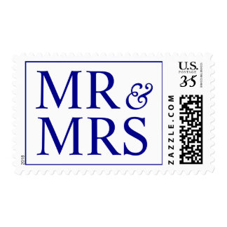Weddings Pretty Mr and Mrs Design Dark Blue Stamp