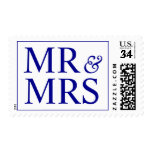 Weddings Pretty Mr and Mrs Design Dark Blue Postage