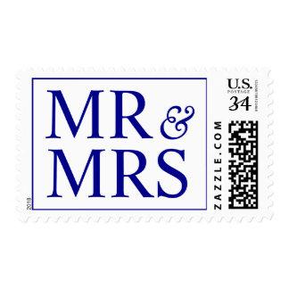 Weddings Pretty Mr and Mrs Design Dark Blue Postage Stamps