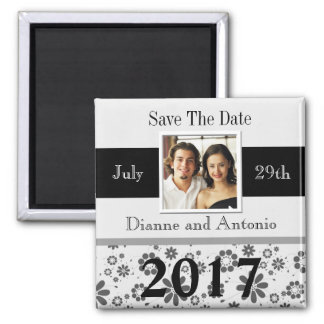 Weddings Save The Date Template Black White 2017 Magnet