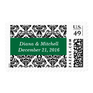 Weddings Stylish Damask Beautiful Cadmium Green Postage
