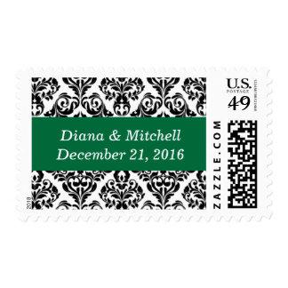 Weddings Stylish Damask Beautiful Cadmium Green Postage Stamps