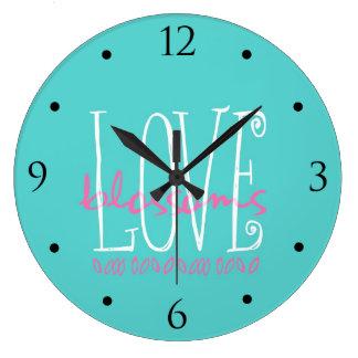 WeddingWhimsies Aqua Love Blossoms Large Clock