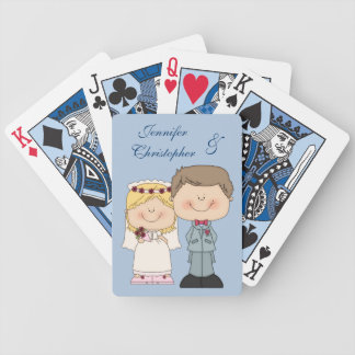 Weddng Couple Cute Cartoon Bride and Groom Bicycle Playing Cards