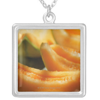 Wedges of sweet melon silver plated necklace