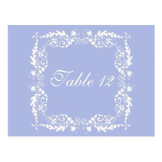 Wedgewood Blue 2 Wedding Reception Table Numbers Postcard