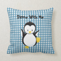 Wedgewood Blue Gingham Pattern•Penguin•Custom Throw Pillow