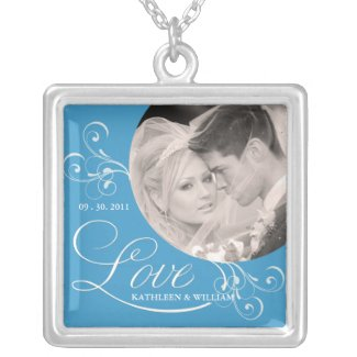 Wedgewood Blue Wedding Photo Pendant Necklace necklace