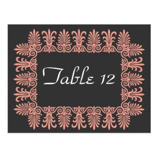 Wedgewood Pink 3 Wedding Reception Table Numbers Postcard