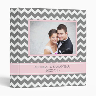 Weding Photo Binder Pink Grey Chevrons