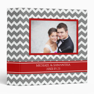 Weding Photo Binder Red Grey Chevrons