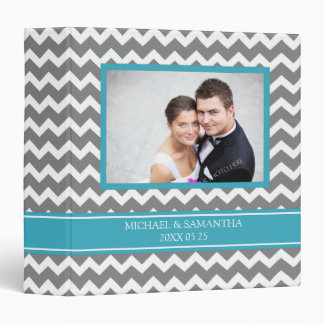 Weding Photo Binder Teal Grey Chevrons