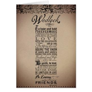 Wedlock Marriage Wedding Original Poem Card