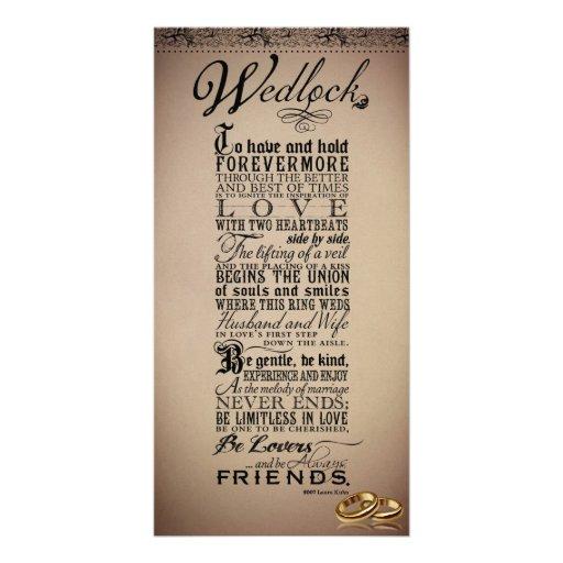 Wedlock Marriage Wedding Original Poem Photo Card