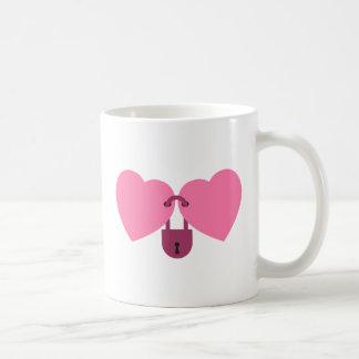 wedlock - two hearts locked with the lock coffee mug