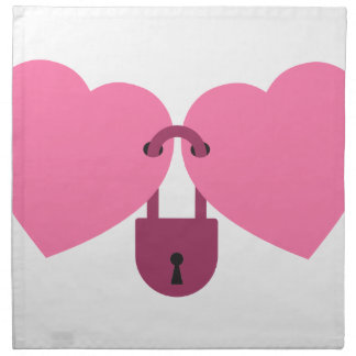 wedlock - two hearts locked with the lock napkin