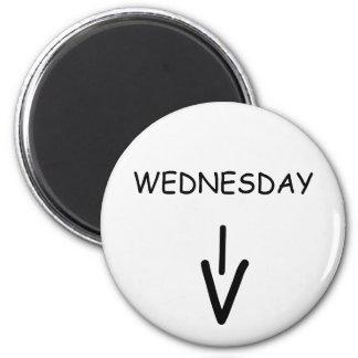 Wednesday Arrow Round White Magnet by Janz